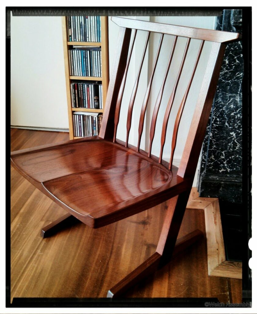 A George Nakashima conoid chair made by Helen Welch at The London School of Furniture Making