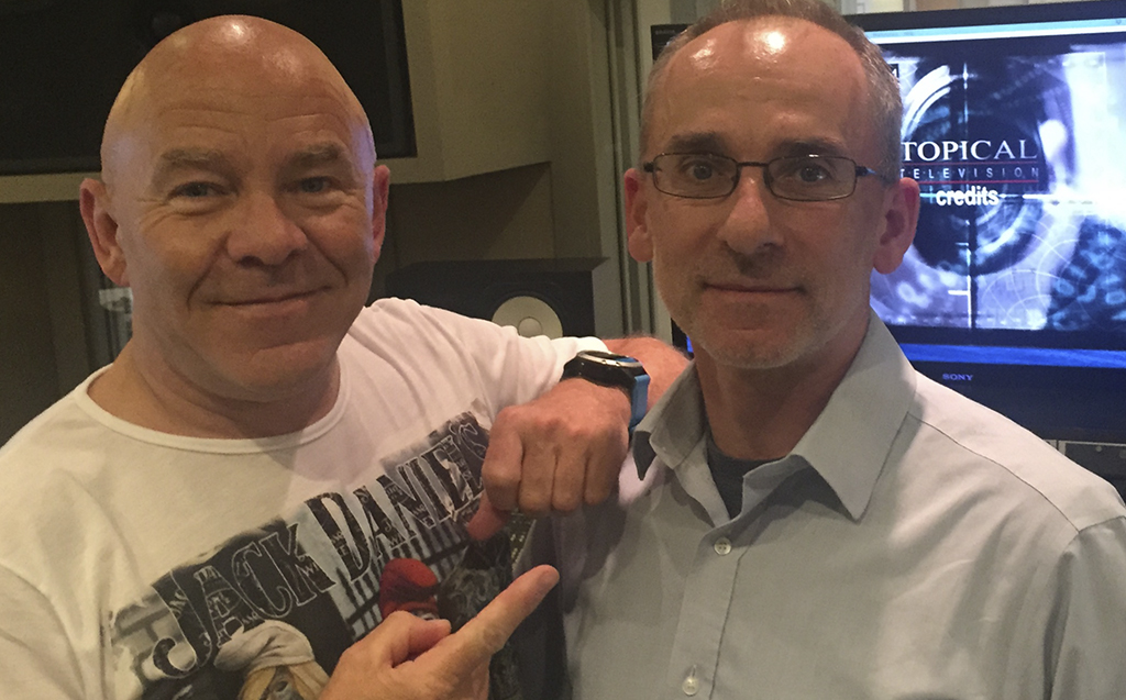 Julian Dismore with Presenter Dom Littlewood recording VO for Caught Red Handed 2019