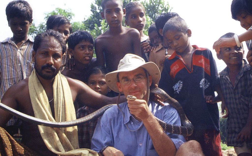Julian with the King Cobra that bit him in India