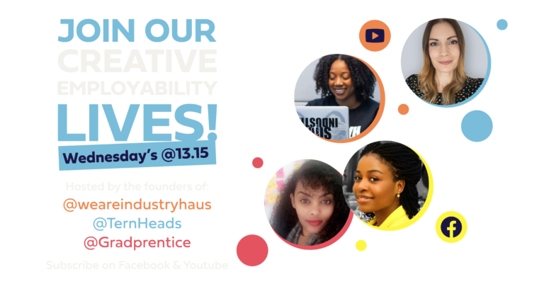 Join our employability Lives every Wednesday at 13.15 on Facebook and Youtube