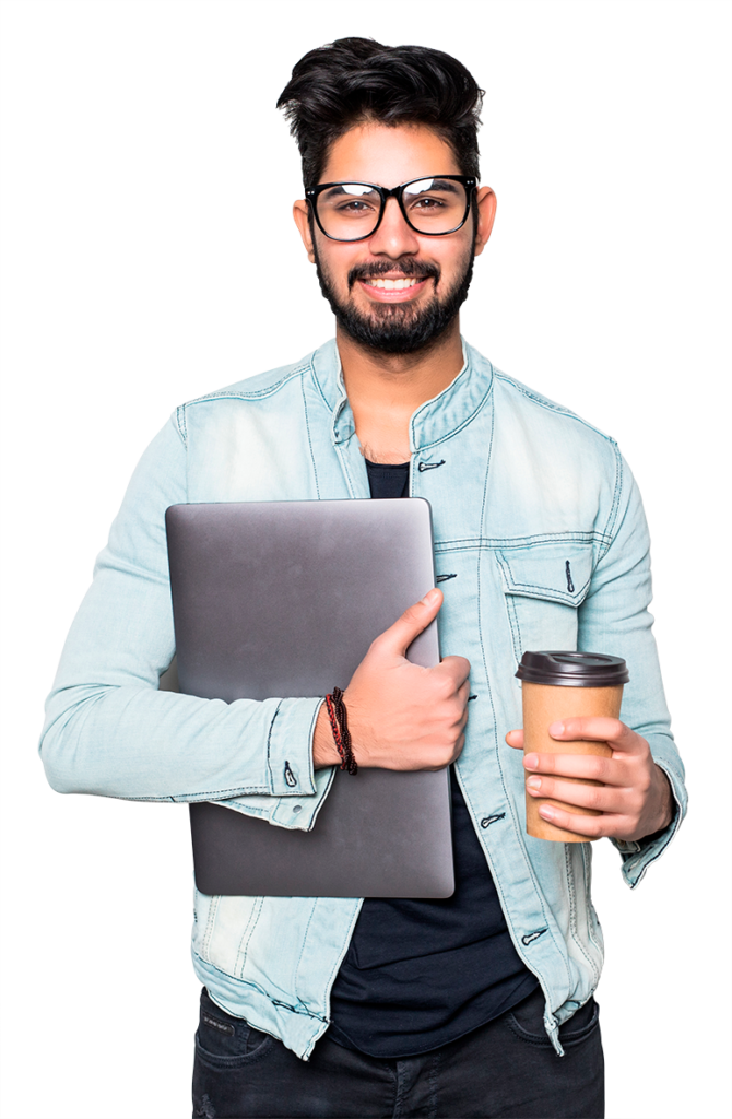 Intern holding a coffee and a laptop